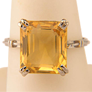 Art Deco Platinum 900 Citrine ring circa 1920