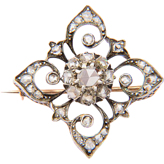 Antique Victorian rose-cut diamond brooch 18 k yellow gold and silver circa 1860-1870 s