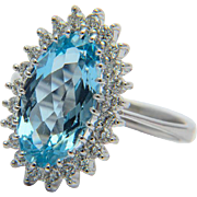 Vintage Aquamarine and diamonds ring circa 1970 white gold 18 k cluster ring engagement ring / anniversary ring / right hand ring / cocktail ring