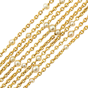 Antique chain pearl 18 k yellow gold Victorian necklace circa 1890-1900 length 59 inches