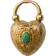 Antique pad lock pendant Victorian Vinaigrette gold pendant 18 k yellow gold turquoise circa 1850 s