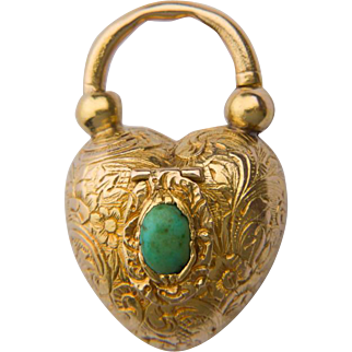 Antique Victorian heart shape pad lock locket Vinaigrette pendant 18 k yellow gold turquoise circa 1850 s