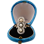 Antique Edwardian / Belle Epoque diamond ring rose-cut diamond and pearls circa 1910