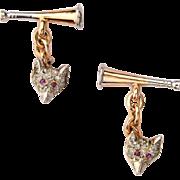 Antique double sided Fox / Horn  Cufflinks diamond ruby 14 k yellow gold platinum circa 1900