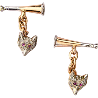 Antique fox cufflinks diamond ruby 14 k yellow gold platinum circa 1900