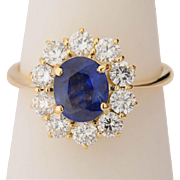 Diamond sapphire ring 18 k yellow gold Vintage Lady Di ring circa 1970