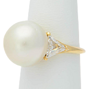 FRED Paris diamond and South Sea pearl fully hallmarked and signed ring circa 1980