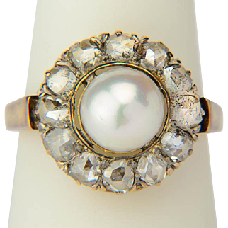 Antique diamond ring rose-cut diamonds pearl Victorian circa 1880-90 s ring 18 k yellow gold and silver