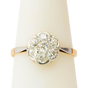 Victorian diamond ring old European-cut 0.84 cwt diamonds daisy ring engagement ring / anniversary ring circa 1890