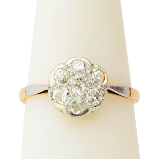 Antique Victorian diamond ring old European-cut 0.84 cwt diamonds daisy ring engagement ring / anniversary ring