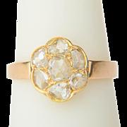Antique diamond ring Victorian circa 1890 rose cut diamonds daisy ring 18 k yellow gold