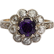 Antique Victorian ring Amethyst diamond cluster ring 18 k yellow gold platinum circa 1890 s