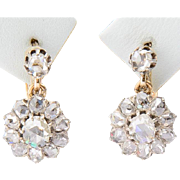 Antique Victorian rose-cut diamonds drop earrings 18 k yellow gold and silver circa 1860 s