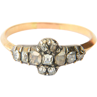 Antique Georgian diamond ring 18 k yellow gold and silver top circa 1790 s