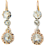 Antique diamond earrings Victorian rose-cut earrings circa 1860