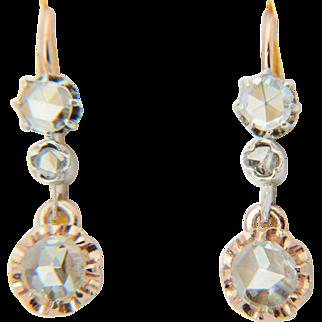 Antique diamond earrings Victorian rose-cut earrings circa 1860