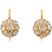 Antique diamond earrings Victorian rose-cut diamonds cluster drop earrings 18 k yellow gold circa 1880