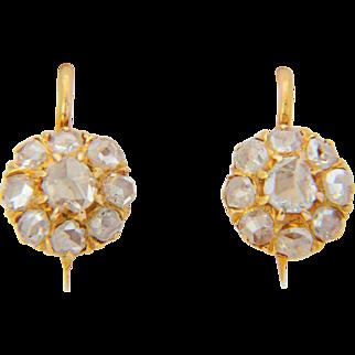 Antique diamond earrings Victorian rose-cut diamonds cluster drop earrings 18 k yellow gold circa 1880