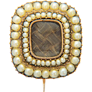 Antique Georgian brooch/pin pearl hair 9 k yellow gold mourning brooch/pin dating circa 1800