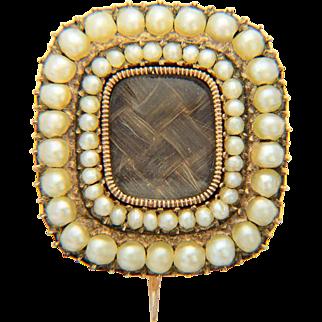 Antique Georgian brooch/pin pearl hair 9 k yellow gold mourning brooch/pin dating circa 1800