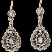 Antique Georgian rose-cut diamonds drop earrings 18 k yellow gold and silver circa 1820