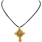 Antique Dutch Georgian cross table-cut and rose-cut diamond cross pendant 18 k yellow gold circa 1780 s