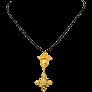 Antique Georgian diamond sacred heart cross pendant 18 k yellow gold table cut diamonds cross circa 1780 s