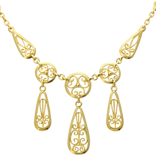 Antique Victorian / Art Nouveau necklace 18 k yellow gold double sided draperie filigree necklace circa 1900