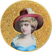 Antique Victorian painted enamel woman`s portrait brooch 18 k yellow gold circa 1880 s