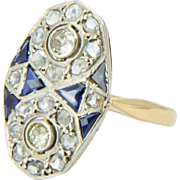 Antique Edwardian / Belle Epoque  diamond and sapphire ring 18 k yellow gold and platinum top ring circa 1910 s