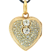 Antique Victorian diamond heart shape locket pendant 14 k yellow gold circa 1850 s