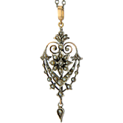 Antique Victorian pendant silver gold rose-cut diamonds natural split pearls circa 1860 s and it`s silver chain
