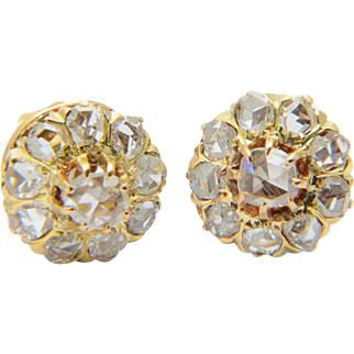Antique diamonds earrings Victorian circa 1890 rose-cut diamonds 18 k yellow gold cluster earrings