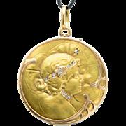 Antique Art Nouveau locket/pendant rose-cut diamonds 18 k yellow gold circa 1900 s