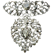 "Antique Georgian pendant "" Flemish Heart"" silver rose-cut diamonds pendant circa 1815 s"