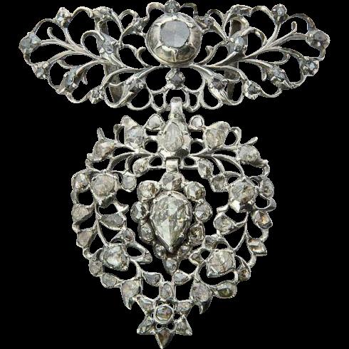 "Antique Georgian pendant "" Flemish Heart"" silver rose-cut diamonds pendant circa 1815 s"