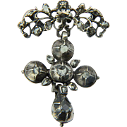 Antique Georgian silver cross pendant rose-cut diamonds circa 1780 s