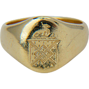 Antique signet ring 18 k yellow gold