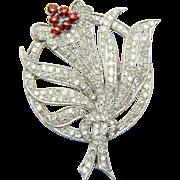 Diamond 3.20 cwt platinum brooch flower spray design