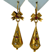 Antique Victorian Neo Etruscan Revival drop earrings circa 1880 s yellow gold 18 k