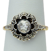 Vintage Georgian style rose-cut diamonds cluster ring circa 1950 s 14 k yellow gold and silver