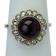 Antique ring Rose-cut diamonds Garnet cabochon circa 1900 s 18 k yellow gold platinum top