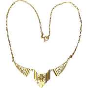 Art Deco necklace 18 k bi-color gold circa 1920 s