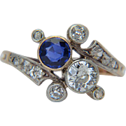 "Antique diamond and sapphire cross-over ring Victorian / Art Nouveau circa 1890 s ""You and Me"" silver over 18 k yellow gold antique engagement ring"