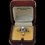 Antique Art Nouveau engagement diamond ring 18 k yellow gold circa 1900