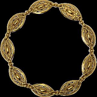 Antique Victorian / French Art Nouveau bracelet 18 k yellow gold circa 1900