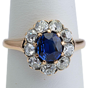 Antique Victorian ring non-heated Ceylon sapphire and diamonds cluster ring circa 1890s