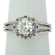 Antique French solitaire 1 carat diamond platinum ring