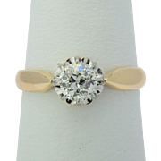 Victorian 0.45 ct old-cut diamond engagement ring 18 k yellow gold and platinum circa 1890 s