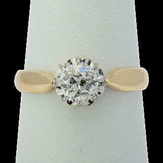 Antique Victorian 0.45 ct diamond engagement ring 18 k yellow gold and platinum circa 1890 s